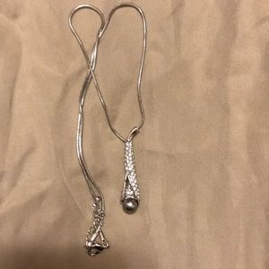 Gray Pearl and Silver Necklace